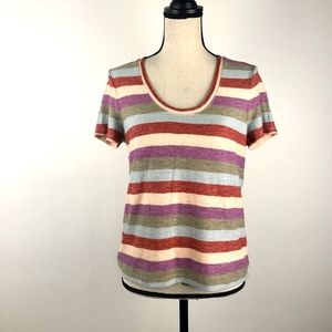 Madewell Multicolor Lines Crew Neck Tee Size Small
